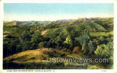 View from Rainbow Drive - Council Bluffs, Iowa IA Postcard