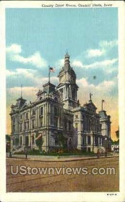 County Court House - Council Bluffs, Iowa IA Postcard