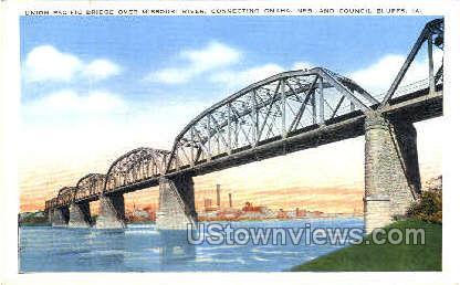 Union Pacific Bridge - Council Bluffs, Iowa IA Postcard