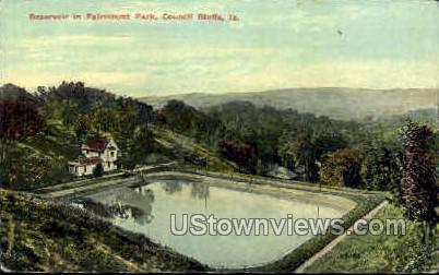 Reservoir in Falrmount Park - Council Bluffs, Iowa IA Postcard