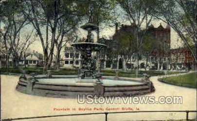 Fountain  - Council Bluffs, Iowa IA Postcard
