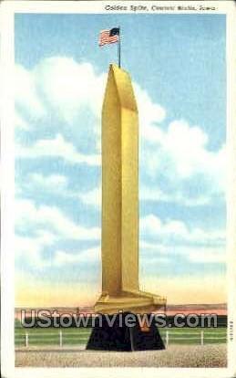 Golden Spike - Council Bluffs, Iowa IA Postcard