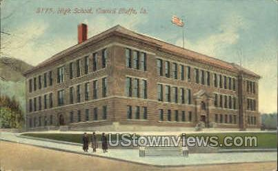High School - Council Bluffs, Iowa IA Postcard