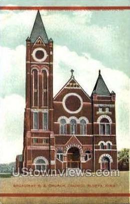 Broadway M. E. Church - Council Bluffs, Iowa IA Postcard