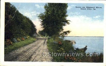 Scene on Missouri River - Sioux City, Iowa IA Postcard