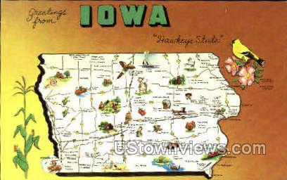 Greetings From - Misc, Iowa IA Postcard