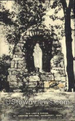 Our Lady Shrine - Davenport, Iowa IA Postcard