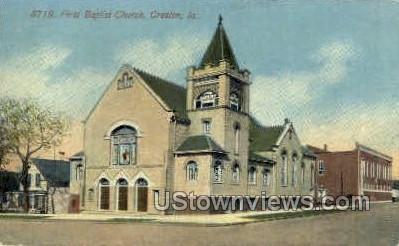 First Baptist Church - Creston, Iowa IA Postcard
