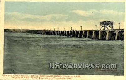 Dam And Power House - Keokuk, Iowa IA Postcard