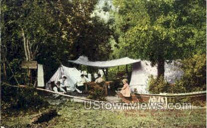 Camping On The Mississippi River - Muscatine, Iowa IA Postcard