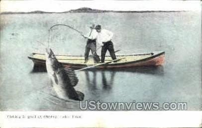 Fishing at Lake Okoboji - Iowa IA Postcard