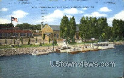 West Riverfront and Boat Dock - Waterloo, Iowa IA Postcard