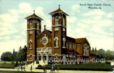 Sacred Heart Catholic Church - Waterloo, Iowa IA Postcard