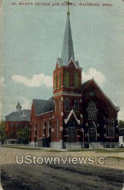 St. Mary's Church and School - Waterloo, Iowa IA Postcard
