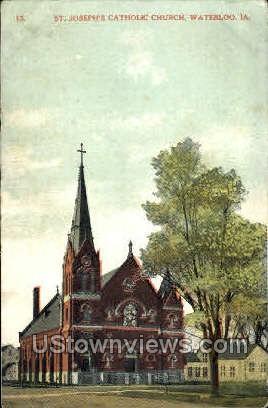 St. Joseph's Catholic Church - Waterloo, Iowa IA Postcard