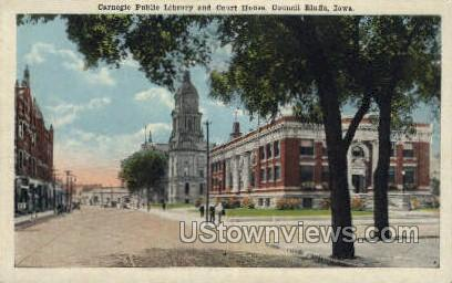 Carnegie Public Library - Council Bluffs, Iowa IA Postcard