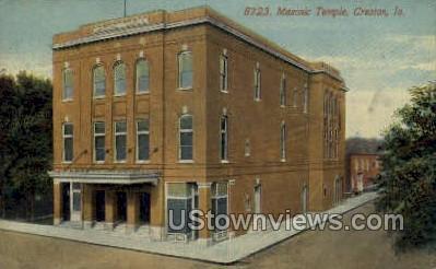 Masonic Temple - Creston, Iowa IA Postcard