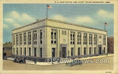 US Post Office - Davenport, Iowa IA Postcard