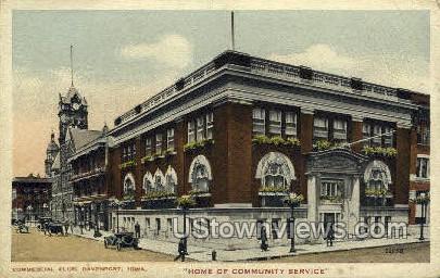Commercial Club - Davenport, Iowa IA Postcard