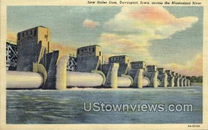 New Roller Dam - Davenport, Iowa IA Postcard
