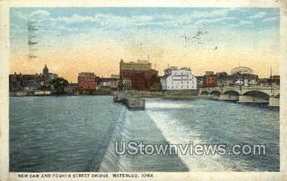 New Dam & Fourth Street Bridge - Waterloo, Iowa IA Postcard