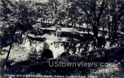Stone Bridge, Point Park - Clinton, Iowa IA Postcard