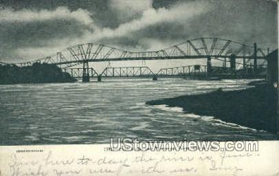 High Bridge, Mississippi River - Clinton, Iowa IA Postcard