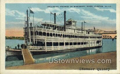 Excursion Boat, Mississippi River - Clinton, Iowa IA Postcard