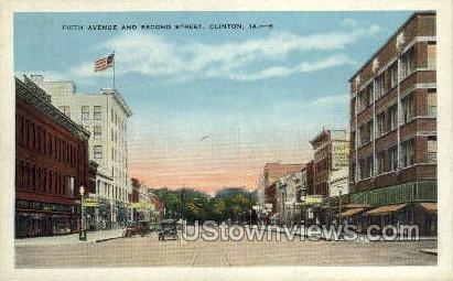 Fifth Ave & Second Street - Clinton, Iowa IA Postcard