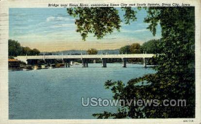 Bridge, Sioux River - Sioux City, Iowa IA Postcard