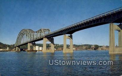Illinois Wisconsin Bridge - Dubuque, Iowa IA Postcard