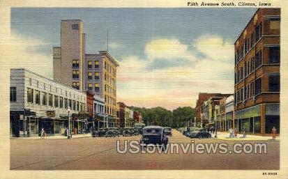 Fifth Ave South - Clinton, Iowa IA Postcard