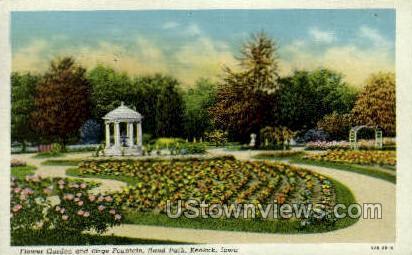 Birge Fountain, Rand Park - Keokuk, Iowa IA Postcard