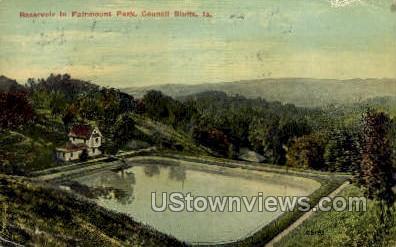 Reservoir, Fairmount Park - Council Bluffs, Iowa IA Postcard