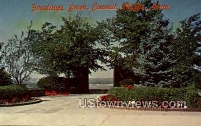 Louis & Clark Monument - Council Bluffs, Iowa IA Postcard