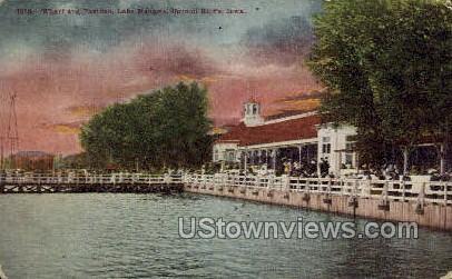 Wharf & Pavilion, Lake Manawa - Council Bluffs, Iowa IA Postcard