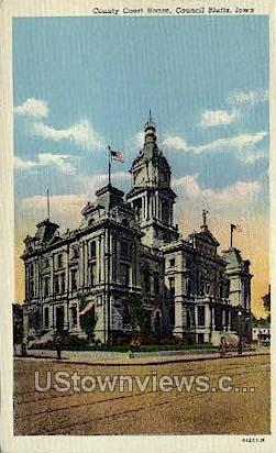 Court  House - Council Bluffs, Iowa IA Postcard