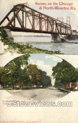 Clinton Bridge - Iowa IA Postcard
