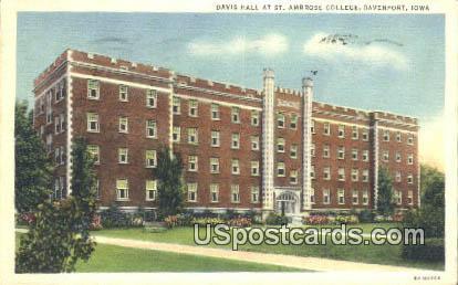 Davis Hall, St Ambrose College - Davenport, Iowa IA Postcard
