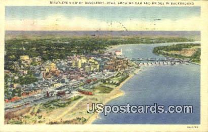 Dam & Bridge - Davenport, Iowa IA Postcard
