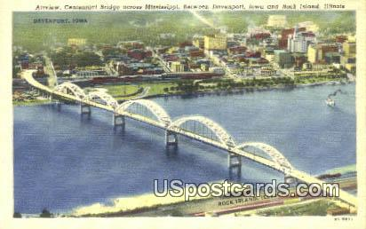 Centennial Bridge - Davenport, Iowa IA Postcard
