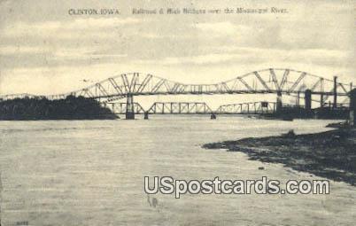 Railroad & High Bridge, Mississippi River - Clinton, Iowa IA Postcard