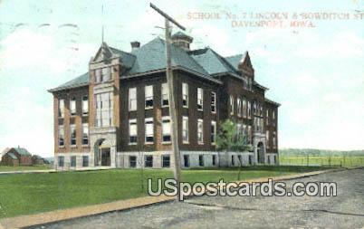 School No 7 - Davenport, Iowa IA Postcard