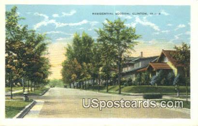 Residential Section - Clinton, Iowa IA Postcard
