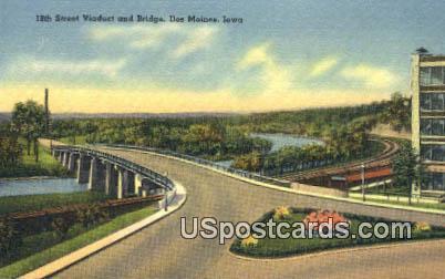 18th Street Viaduct & Bridge - Des Moines, Iowa IA Postcard