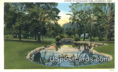 Lagoon, Vanderveer Park - Davenport, Iowa IA Postcard
