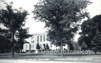 Real Photo - Court House Square - Independence, Iowa IA Postcard
