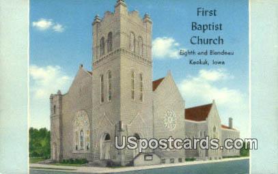 First Baptist Church - Keokuk, Iowa IA Postcard