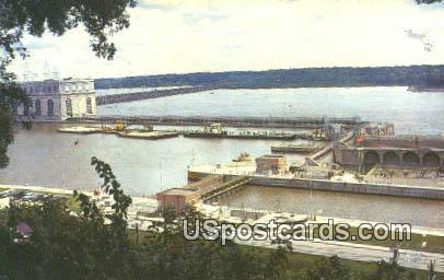 Mississippi River Dam - Keokuk, Iowa IA Postcard