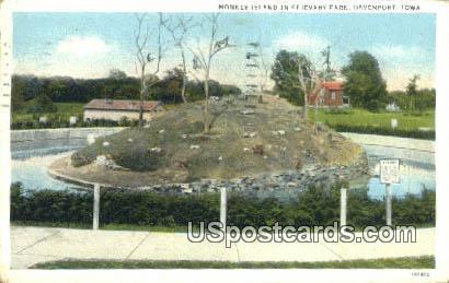 Monkey Island, Fejevary Park - Davenport, Iowa IA Postcard